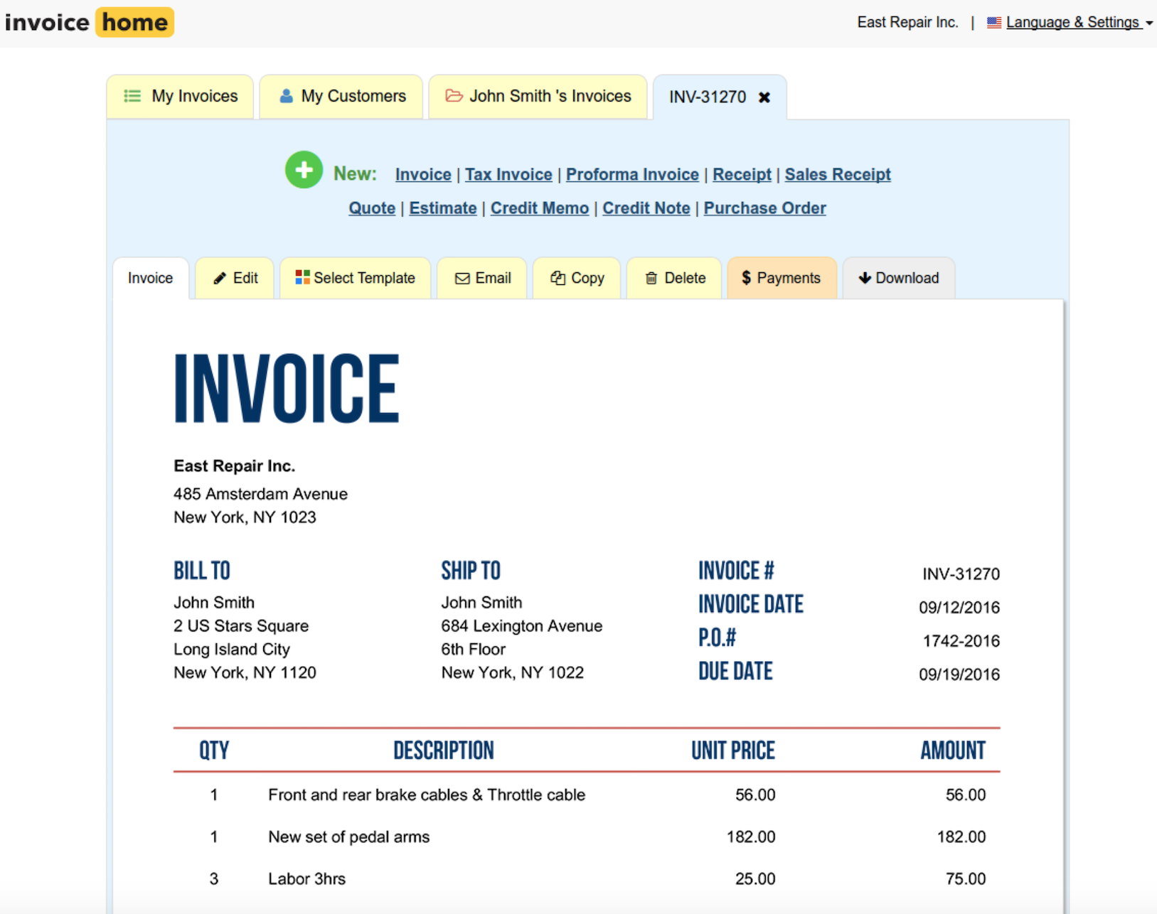 Invoice Home screenshot 0