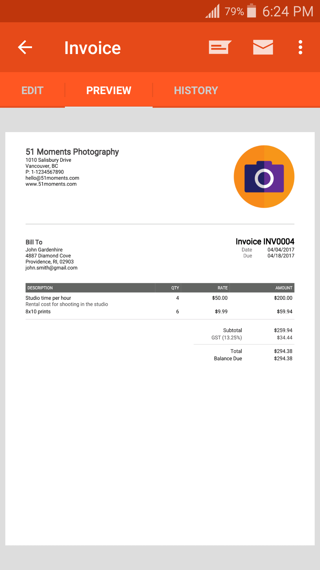Invoice Simple screenshot 1