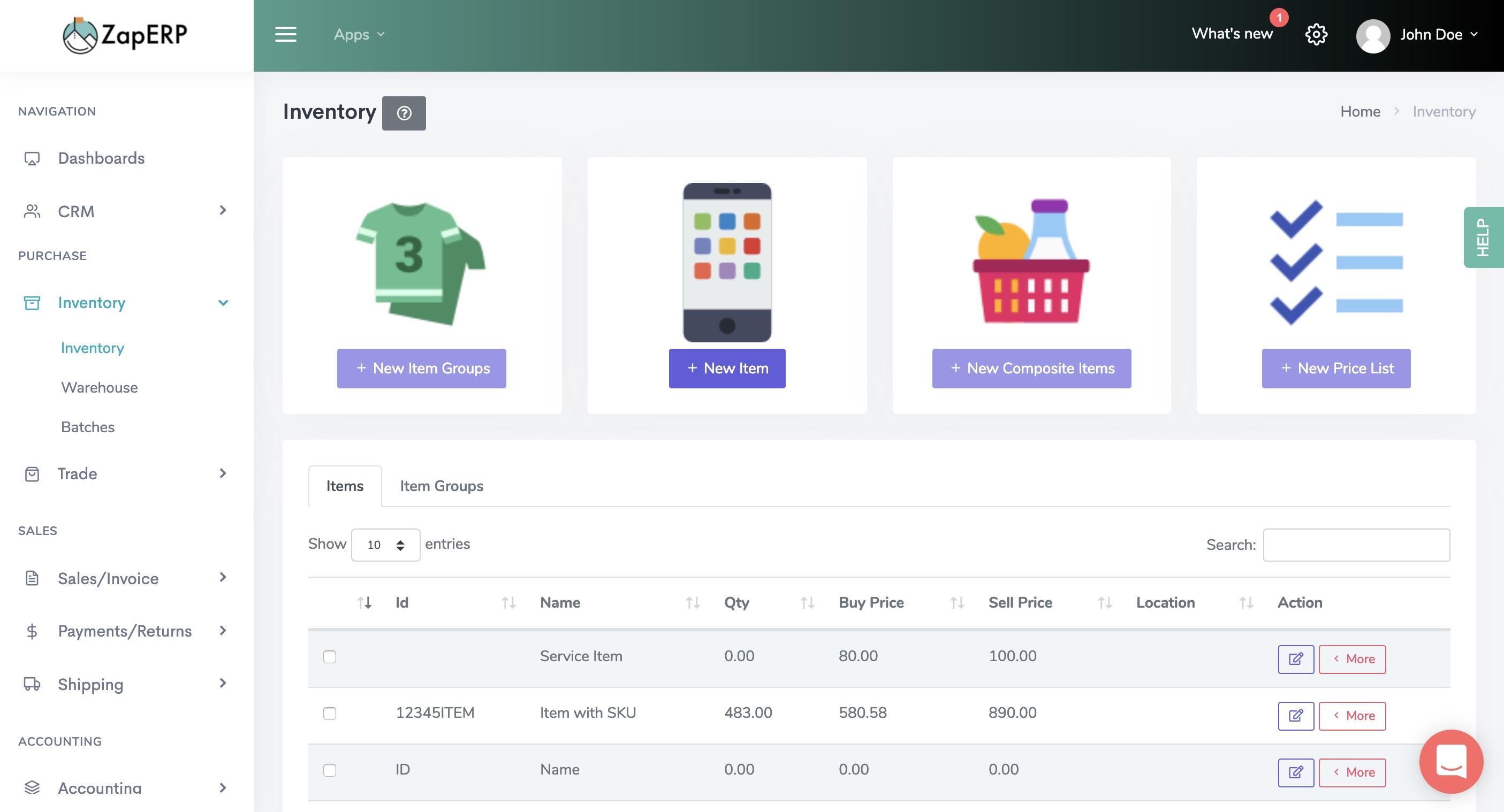 ZapERP Inventory screenshot 2