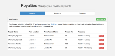 Franchise Royalty Payments screenshot