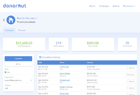 Donorhut screenshot