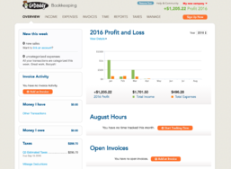GoDaddy Online Bookkeeping screenshot